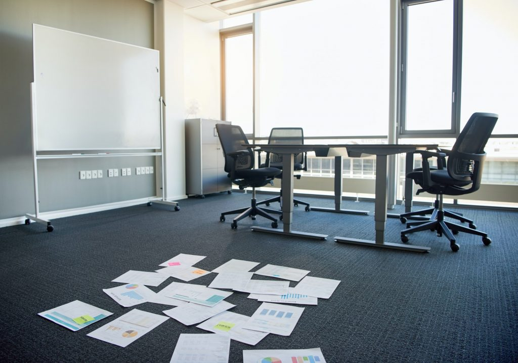Business documents on office floor